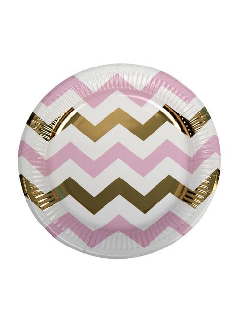 8 platos de zigzag rosa y dorado (23 cm) - Pattern Works Pink