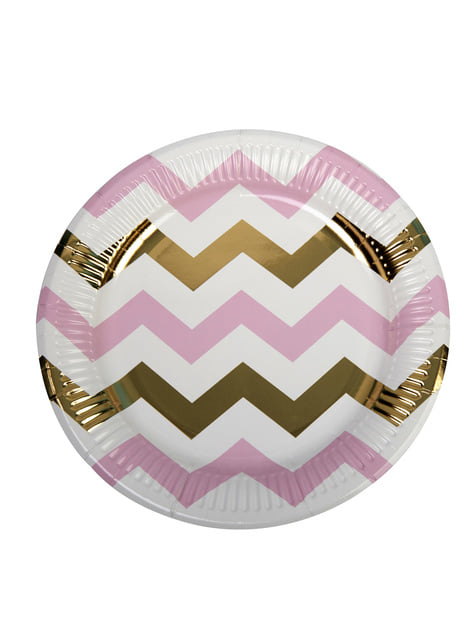 Set of 8 Pink & Gold Chevron Paper Plates - Pattern Works