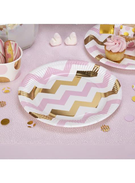 8 platos de zigzag rosa y dorado (23 cm) - Pattern Works Pink - para tus fiestas