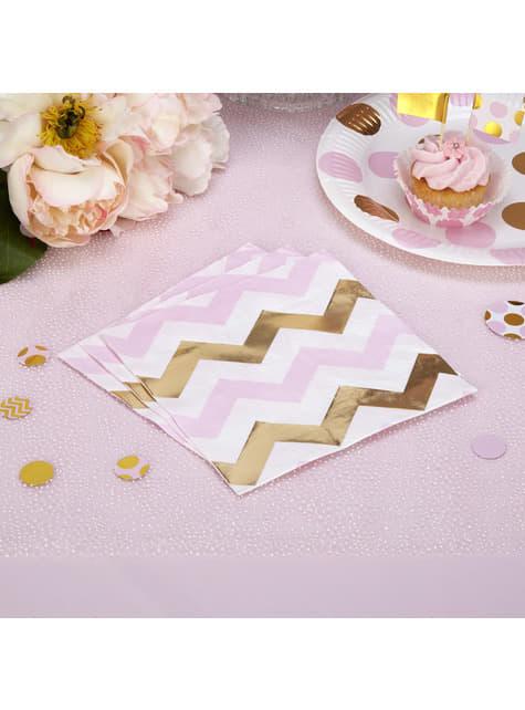 16 servilletas de zigzag rosa y dorado (33x33 cm) - Pattern Works Pink - para tus fiestas
