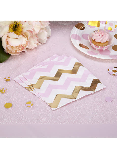 Set of 16 Pink & Gold Chevron Paper Napkins - Pattern Works
