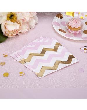 16 servilletas de zigzag rosa y dorado (33x33 cm) - Pattern Works Pink