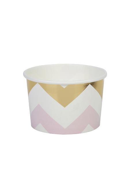 8 tarrinas de zigzag rosa y dorado - Pattern Works Pink