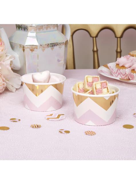 8 tarrinas de zigzag rosa y dorado - Pattern Works Pink - para tus fiestas