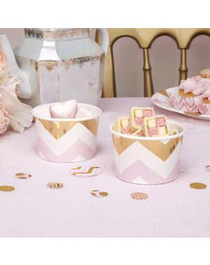 8 små pappersskålar sicksack rosa och guldfärgade  - Pattern Works