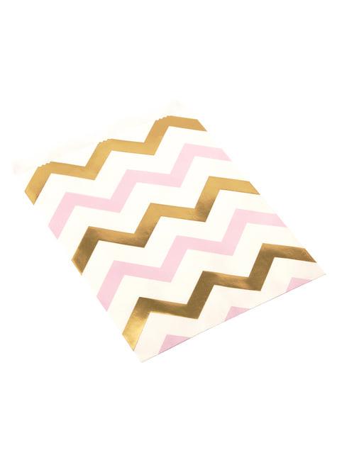25 bolsitas de zigzag rosa y dorado - Pattern Works Pink