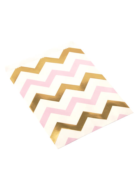 25 Pink & Gold Chevron Paper Bags - Pattern Works