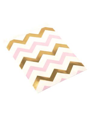 25 papieren zakjes met roze & gouden zigzags - Patroon Werken