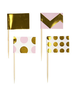 20 bețișoare decorative roz și auriu din hârtie - Pattern Works