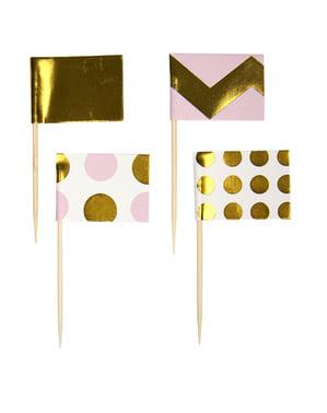 Sett med 20 Rosa & Gull Dekorative Papir Matpinner - Pattern Works