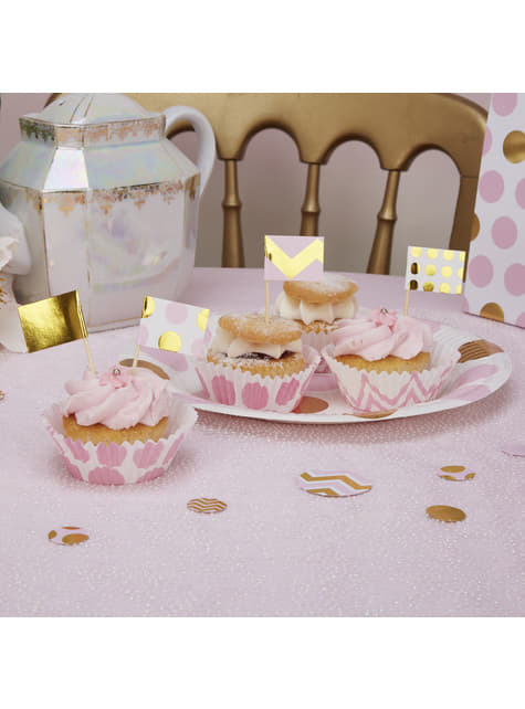 20 Pink & Gold Decorative Paper Food Picks - Pattern Works