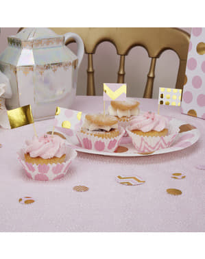 20 stuzzicadenti decorativi di carta rosa e dorati - Pattern Works