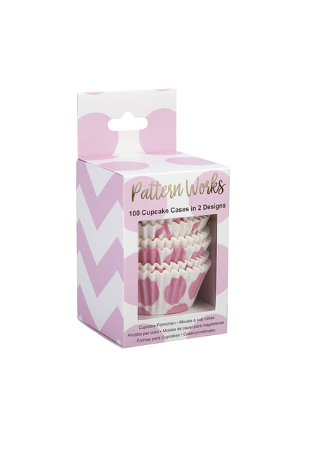 100 Pink Dots Paper Cupcake Cases - Pattern Works
