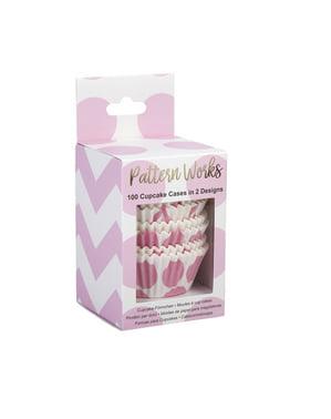 100 krabiček na cupcaky růžových - Patterns Work Pink