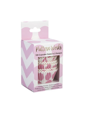 100 Roze Cupcake Vormpjes - Patroon Werkt Roze