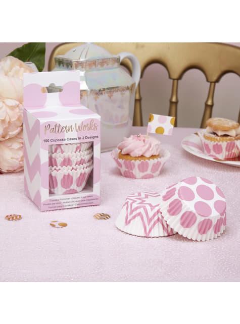 100 moules à cupackes roses en papier - Pattern Works