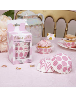 100 moules à cupcakes roses - Pattern Works Pink