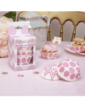 100 Ροζ Cupcake Θήκες - Μοτίβο Έργα Ροζ
