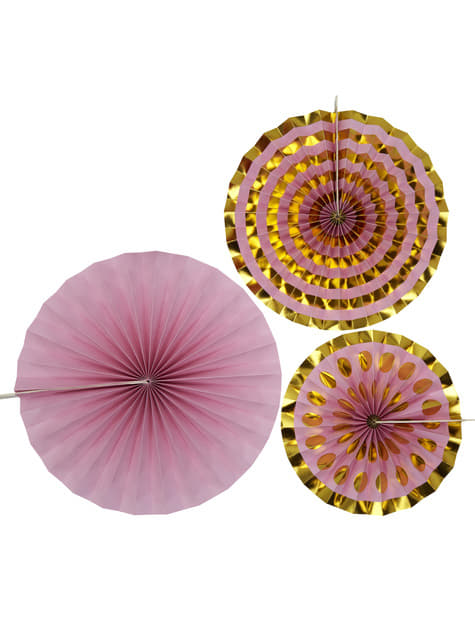 3 Abanicos de papel decorativos rosas - Pattern Works Pink