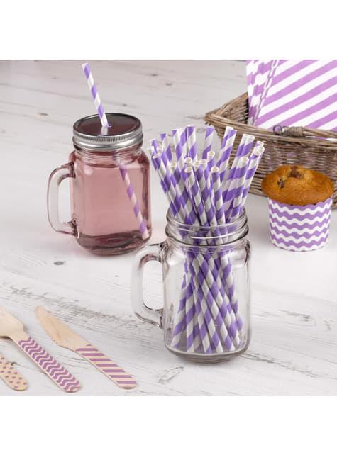 25 pailles violettes et blanches en carton - Pattern Works