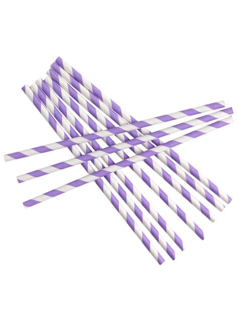 25 pajitas moradas y blancas - Pattern Works Purple - para tus fiestas