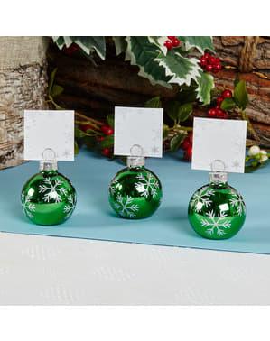 Sett med 6 Grønn Kule Kortholdere - Snowflake