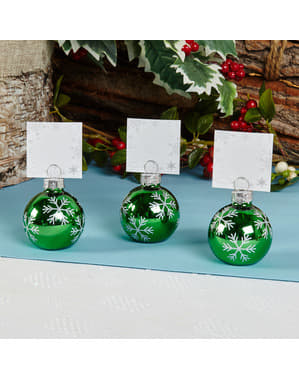 Sæt med 6 Grønne Julekugle Bordkort Holdere  - Snowflake