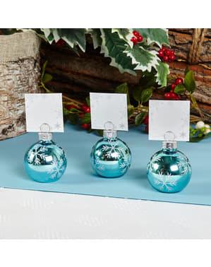 Sæt med 6 Blå Julekugle Bordkort Holdere - Snowflake