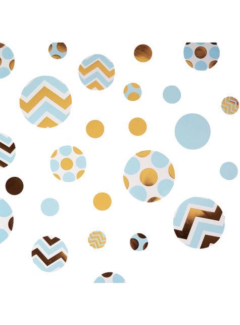Blauw gouden papieren tafel confetti  - Patroon Werken