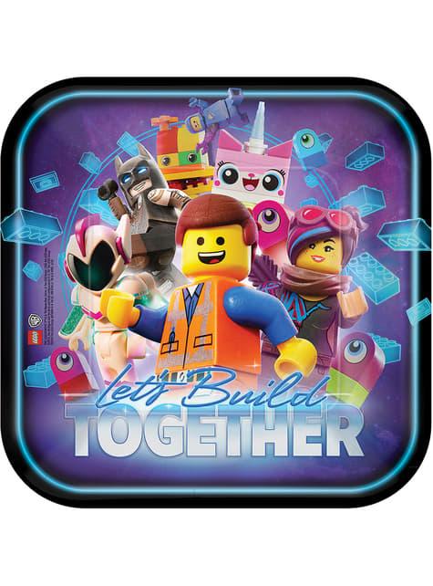Conjunto de 8 pratos quadrados de Lego 2 - Lego Movie 2