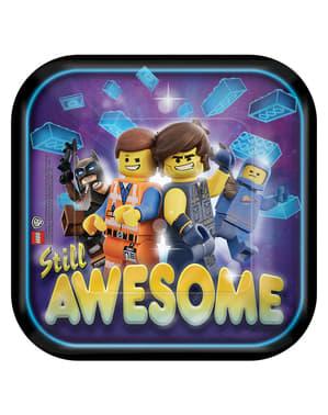 8 pratos quadrados de sobremesa de Lego (18 cm) - Lego Movie 2