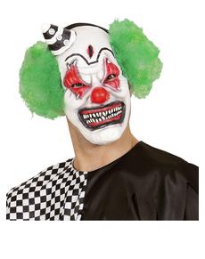 Máscara de payaso asesino con pelo y gorrito