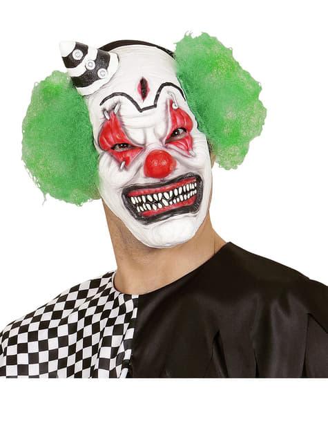 Máscara de palhaço assassino com cabelo e gorro