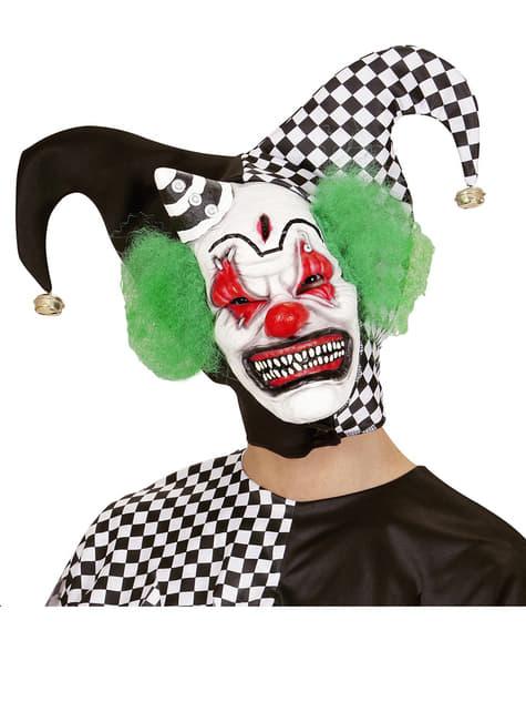 Máscara de payaso asesino con pelo y gorrito - para tu disfraz