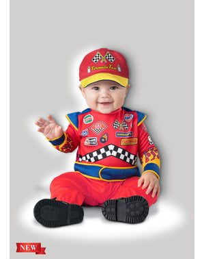 赤ちゃんのためのレースカードライバーのコスチューム