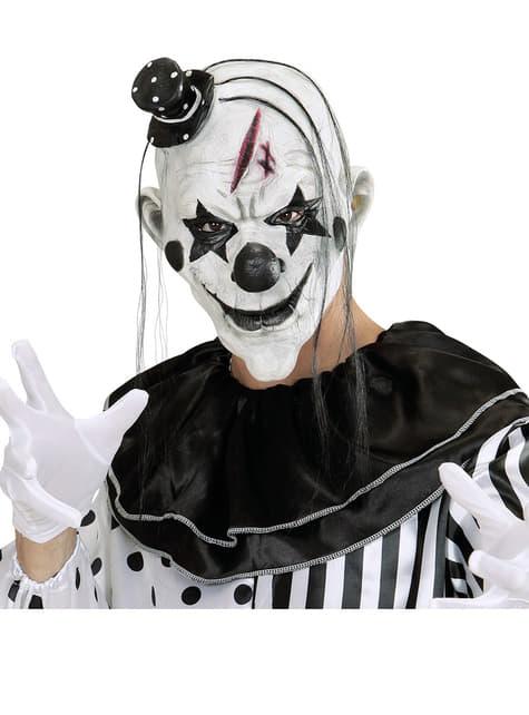 Maska złośliwy klaun z włosami i czapeczką