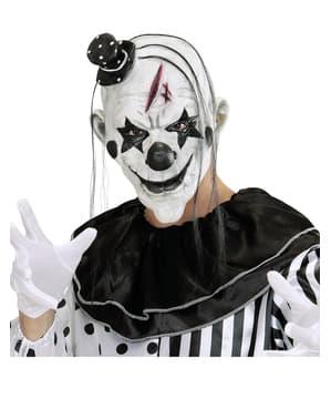 Máscara de payaso malicioso con pelo y gorrito