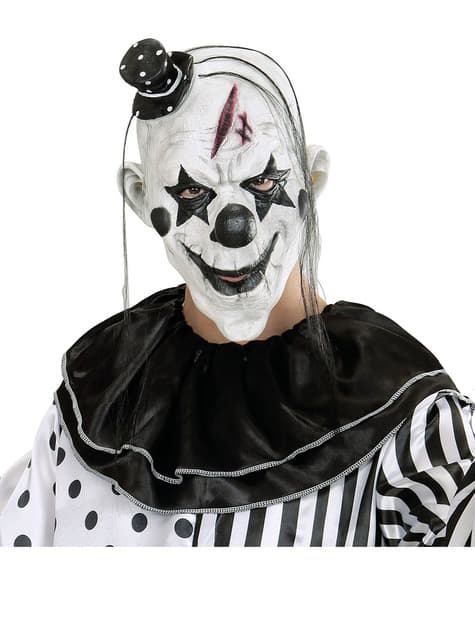 Klaunská maska s vlasmi a mini klobúkom zlovestný klaun