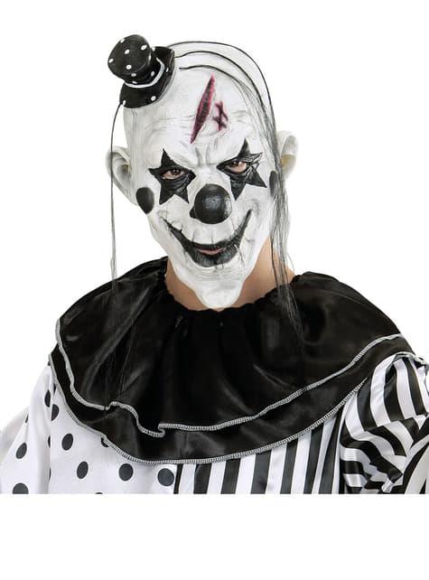 Máscara de payaso malicioso con pelo y gorrito - para tu disfraz
