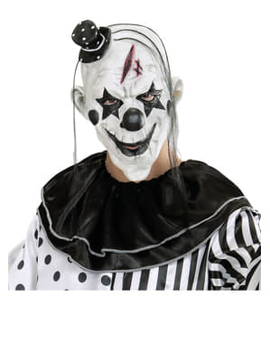 Зловісна маска клоуна з волоссям та міні-капелюхом