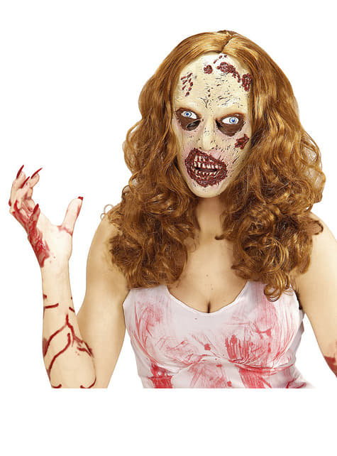 Máscara de chica zombie con peluca