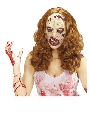 Máscara de rapariga zombie com peruca