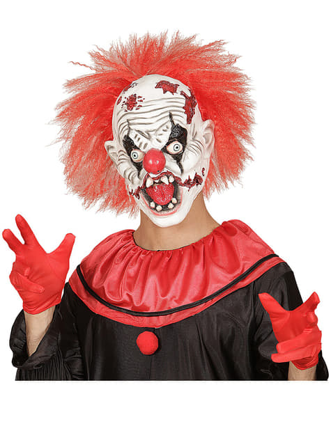 Máscara de payaso loco zombie con pelo - para tu disfraz