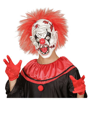 Máscara de palhaço louco zombie com cabelo
