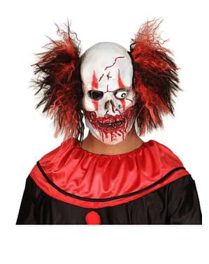 Totenkopf Clown Maske mit Haaren