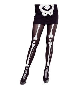 Meias-calças pretas de caveira