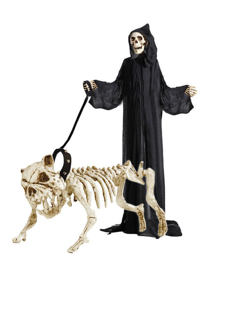 Esqueleto de cão com correia