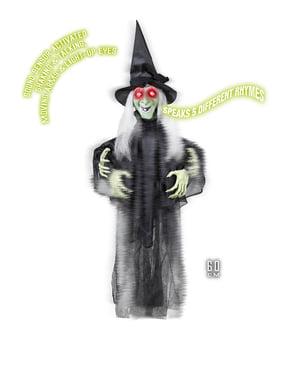 Závěsná dekorace mluvící čarodějnice s svítícíma očima