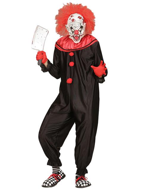Disfraz de payaso negro y rojo asesino para hombre