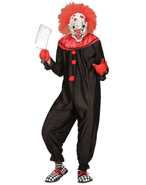 Mens Black and Red Killer Clown Costume